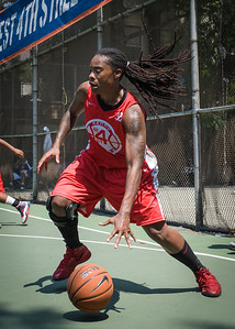 """Kellindra Zackery West 4th Street Women's Pro Classic NYC: Sports Challenge Final-Exodus NYC Apache (Green) 65 v Big East Ballers (Red) 58, """"The Cage"""", New York, NY, July 22, 2012"""