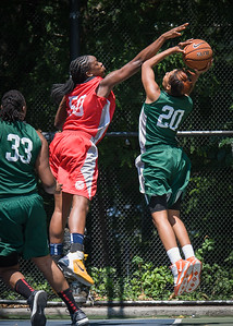 """Erica Morrow, Korinne Campbell West 4th Street Women's Pro Classic NYC: Sports Challenge Final-Exodus NYC Apache (Green) 65 v Big East Ballers (Red) 58, """"The Cage"""", New York, NY, July 22, 2012"""