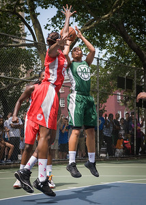 """Cherise George, Victoria Macaulay West 4th Street Women's Pro Classic NYC: Sports Challenge Final-Exodus NYC Apache (Green) 65 v Big East Ballers (Red) 58, """"The Cage"""", New York, NY, July 22, 2012"""