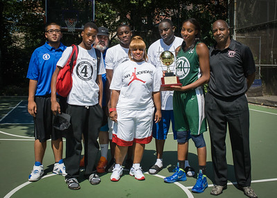 """Nicole Michael, Janice Carter, Dinero Young, Frank Simpson, West 4th St. Staff West 4th Street Women's Pro Classic NYC: Sports Challenge Final-Exodus NYC Apache (Green) 65 v Big East Ballers (Red) 58, """"The Cage"""", New York, NY, July 22, 2012"""