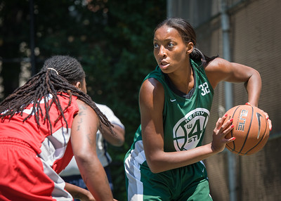 """Nicole Michael West 4th Street Women's Pro Classic NYC: Sports Challenge Final-Exodus NYC Apache (Green) 65 v Big East Ballers (Red) 58, """"The Cage"""", New York, NY, July 22, 2012"""
