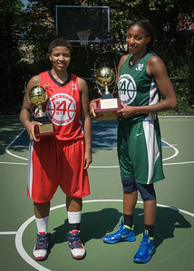 """Tasha Cannon, Nicole Michael West 4th Street Women's Pro Classic NYC: Sports Challenge Final-Exodus NYC Apache (Green) 65 v Big East Ballers (Red) 58, """"The Cage"""", New York, NY, July 22, 2012"""