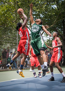 """Korinne Campbell, Cherise George West 4th Street Women's Pro Classic NYC: Sports Challenge Final-Exodus NYC Apache (Green) 65 v Big East Ballers (Red) 58, """"The Cage"""", New York, NY, July 22, 2012"""
