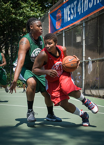 """Tasha Cannon, Brittany Webb West 4th Street Women's Pro Classic NYC: Sports Challenge Final-Exodus NYC Apache (Green) 65 v Big East Ballers (Red) 58, """"The Cage"""", New York, NY, July 22, 2012"""