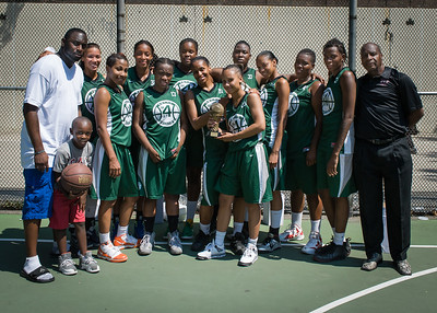 """Exodus NYC West 4th Street Women's Pro Classic NYC: Sports Challenge Final-Exodus NYC Apache (Green) 65 v Big East Ballers (Red) 58, """"The Cage"""", New York, NY, July 22, 2012"""