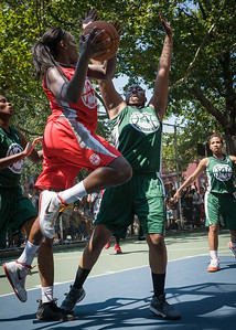 """Michelle Campbell, Brittany Webb West 4th Street Women's Pro Classic NYC: Sports Challenge Final-Exodus NYC Apache (Green) 65 v Big East Ballers (Red) 58, """"The Cage"""", New York, NY, July 22, 2012"""