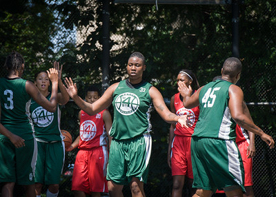 """Brittany Webb West 4th Street Women's Pro Classic NYC: Sports Challenge Final-Exodus NYC Apache (Green) 65 v Big East Ballers (Red) 58, """"The Cage"""", New York, NY, July 22, 2012"""