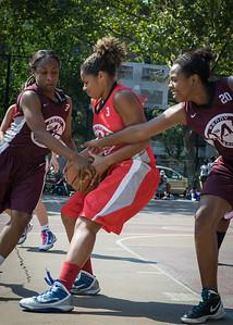 August Keating, Tanisha Montague, Jackie Handy West 4th Street Women's Pro Classic NYC: Saints (Burgundy) 47 v Ball 4 Life (Red) 20, William F. Passannante Ballfield, New York, NY, July 22, 2012, 2012