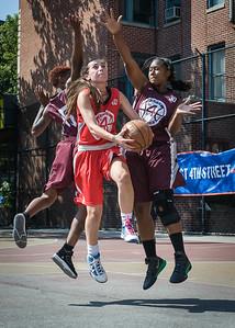 "Resia Asimovic, Nikita Stewart, Amanda ""Ice"" Burnett West 4th Street Women's Pro Classic NYC: Saints (Burgundy) 47 v Ball 4 Life (Red) 20, William F. Passannante Ballfield, New York, NY, July 22, 2012, 2012"