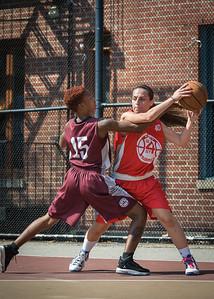 "Resia Asimovic, Amanda ""Ice"" Burnett West 4th Street Women's Pro Classic NYC: Saints (Burgundy) 47 v Ball 4 Life (Red) 20, William F. Passannante Ballfield, New York, NY, July 22, 2012, 2012"