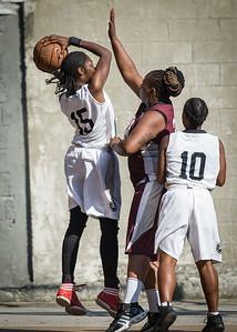 Tonaya Hollis, Kimba Pierre, Latourra Williams West 4th Street Women's Pro Classic NYC: Brooklyn Express (Burgundy) 75 v Crossover (White) 52, William F. Passannante Ballfield, New York, NY, July 22, 2012, 2012