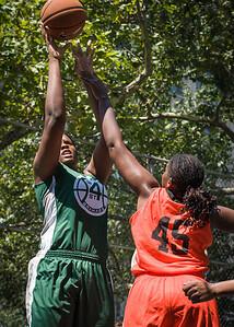 "Terriah Cooper, Yolanda Rayside West 4th Street Women's Pro Classic NYC: Exodus NYC Apache (Green) 61 v Deuce Trey (Orange) 47, ""The Cage"", New York, NY, August 4, 2012"