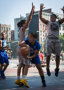 Desiree Simmons, Latoya Steele, Robyn Mumford West 4th Street Women's Pro Classic NYC: Lady Soldiers (Blue) 59 v Imperial Crew (Grey) 50, William F. Passannante Ballfield, New York, NY, August 4, 2012.