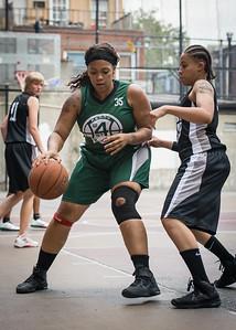 Taisha Hylor, Jasmine Jones West 4th Street Women's Pro Classic NYC: Quiet Storm (Green) 49 v Down the Hatch (Black) 38, William F. Passannante Ballfield, New York, NY, August 4, 2012.