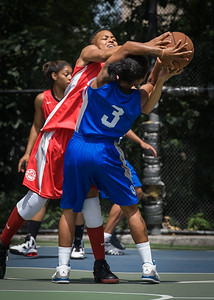 """Renee Taylor, Nicole Rhem West 4th Street Women's Pro Classic NYC: Primetime (Blue) 69 v Big East Ballers (Red) 60, """"The Cage"""", New York, NY, August 5, 2012"""