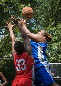 """Jazmine Wright, Tasha Cannon West 4th Street Women's Pro Classic NYC: Primetime (Blue) 69 v Big East Ballers (Red) 60, """"The Cage"""", New York, NY, August 5, 2012"""