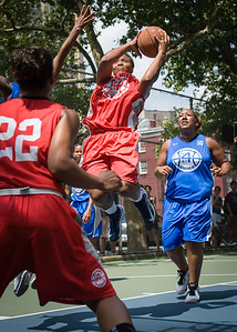 """Tasha Cannon West 4th Street Women's Pro Classic NYC: Primetime (Blue) 69 v Big East Ballers (Red) 60, """"The Cage"""", New York, NY, August 5, 2012"""