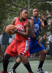 """Kellindra Zackery, Dana Wynne West 4th Street Women's Pro Classic NYC: Primetime (Blue) 69 v Big East Ballers (Red) 60, """"The Cage"""", New York, NY, August 5, 2012"""