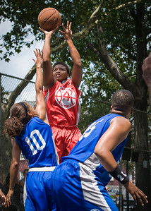"""Tasha Cannon, Shemika Stevens West 4th Street Women's Pro Classic NYC: Primetime (Blue) 69 v Big East Ballers (Red) 60, """"The Cage"""", New York, NY, August 5, 2012"""