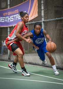 """Renee Taylor, Anika Rivera West 4th Street Women's Pro Classic NYC: Primetime (Blue) 69 v Big East Ballers (Red) 60, """"The Cage"""", New York, NY, August 5, 2012"""
