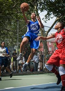 "Maurita Reid, Nicole Rhem West 4th Street Women's Pro Classic NYC: Primetime (Blue) 69 v Big East Ballers (Red) 60, ""The Cage"", New York, NY, August 5, 2012"