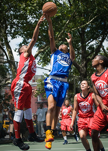 """Shemika Stevens, Nicole Rhem West 4th Street Women's Pro Classic NYC: Primetime (Blue) 69 v Big East Ballers (Red) 60, """"The Cage"""", New York, NY, August 5, 2012"""