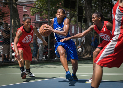 """Bianca Brown, Anika Rivera, Shenneika Smith West 4th Street Women's Pro Classic NYC: Primetime (Blue) 69 v Big East Ballers (Red) 60, """"The Cage"""", New York, NY, August 5, 2012"""