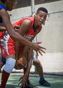 """Nicole Rhem West 4th Street Women's Pro Classic NYC: Primetime (Blue) 69 v Big East Ballers (Red) 60, """"The Cage"""", New York, NY, August 5, 2012"""