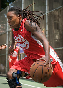 """Kellindra Zackery West 4th Street Women's Pro Classic NYC: Primetime (Blue) 69 v Big East Ballers (Red) 60, """"The Cage"""", New York, NY, August 5, 2012"""