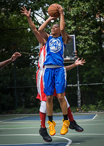 """Shemika Stevens West 4th Street Women's Pro Classic NYC: Primetime (Blue) 69 v Big East Ballers (Red) 60, """"The Cage"""", New York, NY, August 5, 2012"""