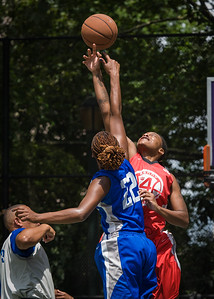 """Kellindra Zackery, Leeah Thomas West 4th Street Women's Pro Classic NYC: Primetime (Blue) 69 v Big East Ballers (Red) 60, """"The Cage"""", New York, NY, August 5, 2012"""