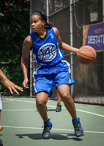 """Bianca Brown West 4th Street Women's Pro Classic NYC: Primetime (Blue) 69 v Big East Ballers (Red) 60, """"The Cage"""", New York, NY, August 5, 2012"""