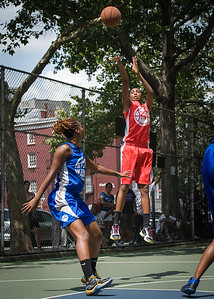 """Shenneika Smith, Leeah Thomas West 4th Street Women's Pro Classic NYC: Primetime (Blue) 69 v Big East Ballers (Red) 60, """"The Cage"""", New York, NY, August 5, 2012"""