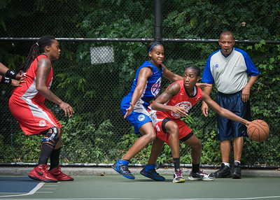 """Shenneika Smith, Bianca Brown, Kellindra Zackery West 4th Street Women's Pro Classic NYC: Primetime (Blue) 69 v Big East Ballers (Red) 60, """"The Cage"""", New York, NY, August 5, 2012"""