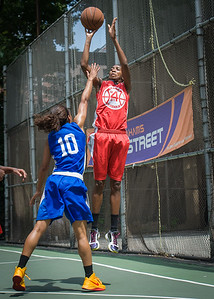 """Shenneika Smith, Shemika Stevens West 4th Street Women's Pro Classic NYC: Primetime (Blue) 69 v Big East Ballers (Red) 60, """"The Cage"""", New York, NY, August 5, 2012"""