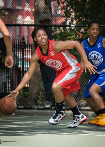 """Anika Rivera West 4th Street Women's Pro Classic NYC: Primetime (Blue) 69 v Big East Ballers (Red) 60, """"The Cage"""", New York, NY, August 5, 2012"""