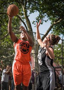 "Shac Campbell, Amanda Bartlett West 4th Street Women's Pro Classic NYC: Deuce Trey (Orange) 90 v Cobra Hustlers (Black) 80, ""The Cage"", New York, NY, August 5, 2012"
