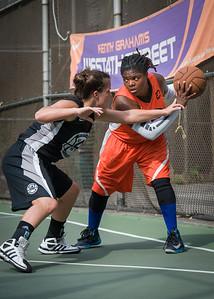 "Lawanda Greene, Michelle Kurowski West 4th Street Women's Pro Classic NYC: Deuce Trey (Orange) 90 v Cobra Hustlers (Black) 80, ""The Cage"", New York, NY, August 5, 2012"