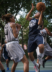 """Angel Porter, Nicky Souter West 4th Street Women's Pro Classic NYC: No Limit (Blue) 62 v Imperial Crew (Grey) 50, """"The Cage"""", New York, NY, August 5, 2012"""