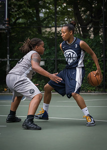 """Nastassia Boucicault, Robyn Mumford West 4th Street Women's Pro Classic NYC: No Limit (Blue) 62 v Imperial Crew (Grey) 50, """"The Cage"""", New York, NY, August 5, 2012"""