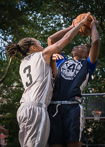 """Afreyea Tolbert, Latoya Steele West 4th Street Women's Pro Classic NYC: No Limit (Blue) 62 v Imperial Crew (Grey) 50, """"The Cage"""", New York, NY, August 5, 2012"""