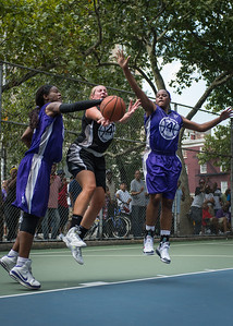 """Brianna Slooper, Micki Younger, Dawn Coleman West 4th Street Women's Pro Classic NYC: Run N Shoot (Purple) 93 v Cobra Hustlers (Black) 61 , """"The Cage"""", New York, NY, August 11, 2012"""