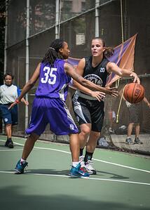 "Michelle Kurowski, Diatiema Hill West 4th Street Women's Pro Classic NYC: Run N Shoot (Purple) 93 v Cobra Hustlers (Black) 61 , ""The Cage"", New York, NY, August 11, 2012"