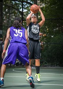 "Christie Marrone, Diatiema Hill West 4th Street Women's Pro Classic NYC: Run N Shoot (Purple) 93 v Cobra Hustlers (Black) 61 , ""The Cage"", New York, NY, August 11, 2012"