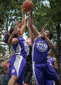 "Ariel Smith, Stephanie Bingham  West 4th Street Women's Pro Classic NYC: Run N Shoot (Purple) 93 v Cobra Hustlers (Black) 61 , ""The Cage"", New York, NY, August 11, 2012"