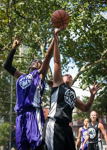 """Micki Younger, Christie Marrone West 4th Street Women's Pro Classic NYC: Run N Shoot (Purple) 93 v Cobra Hustlers (Black) 61 , """"The Cage"""", New York, NY, August 11, 2012"""