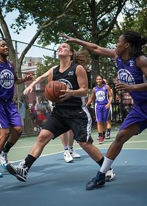 "Michelle Kurowski, Stephanie Bingham West 4th Street Women's Pro Classic NYC: Run N Shoot (Purple) 93 v Cobra Hustlers (Black) 61 , ""The Cage"", New York, NY, August 11, 2012"