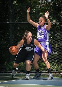 "Michelle Kurowski, Thanzina Cook West 4th Street Women's Pro Classic NYC: Run N Shoot (Purple) 93 v Cobra Hustlers (Black) 61 , ""The Cage"", New York, NY, August 11, 2012"