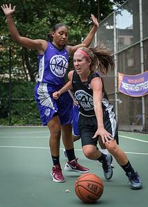 "Amanda Bartlett, Ariel Smith West 4th Street Women's Pro Classic NYC: Run N Shoot (Purple) 93 v Cobra Hustlers (Black) 61 , ""The Cage"", New York, NY, August 11, 2012"