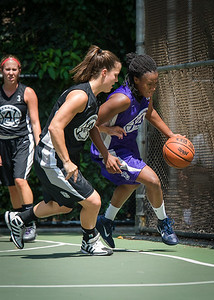 "Stephanie Bingham, Michelle Kurowski West 4th Street Women's Pro Classic NYC: Run N Shoot (Purple) 93 v Cobra Hustlers (Black) 61 , ""The Cage"", New York, NY, August 11, 2012"